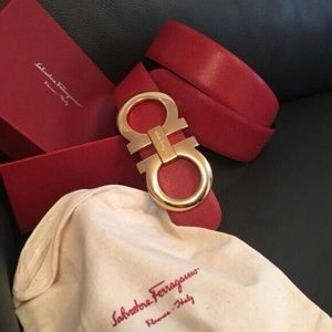 Other - Ferragamo red reversible XL gold buckle belt